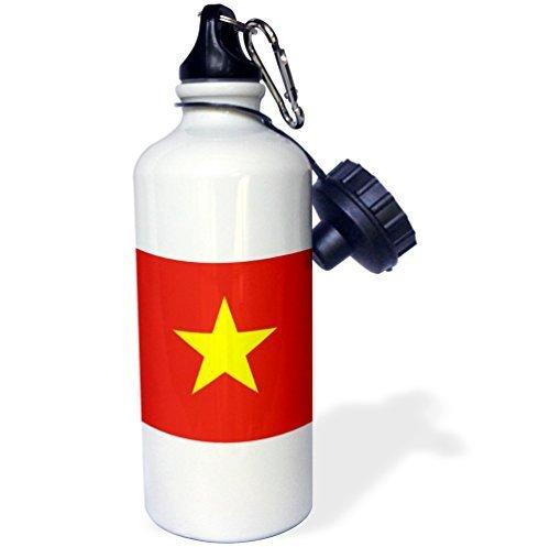Cukudy Water Fles Gift, Vlag Van Vietnam Vietnamese Rood Met Gele Ster Zuidoost-Azië Socialistische Republiek Viet Nam Wit RVS Waterfles voor Vrouwen Mannen 21oz
