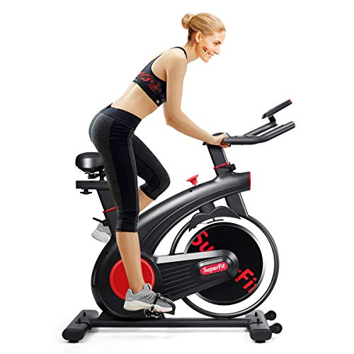Goplus Indoor Cycling Bike, Silent Belt Drive Exercise Bike with Phone Holder, Adjustable Seat, LCD Monitor, Stationary Bicycle for Home Gym Workout bike Exercise