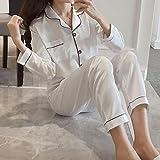 Pajamas Nightwear Spring Silk Satin Pajamas Pyjamas Woman Set Long Sleeve Sleepwear Pijama Suit Sleep Two Piece Loungewear Plus Size XXXL White