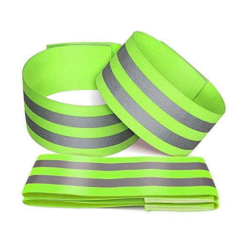 OLLM 4er Set Reflektorband für Outdoor Jogging, Radfahren, Wandern, Motorrad-Reiten oder Laufen Reflektierende Sicherheits Armband