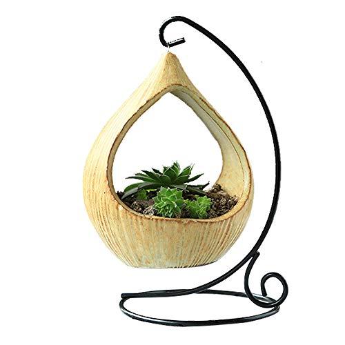 TJW Pots géométriques pour plantes grasses avec cadre en fer - Vase en céramique à suspendre - Kit pour plantes grasses, fougères, mousse, bonsaï - Décoration de maison ou de bureau (A)