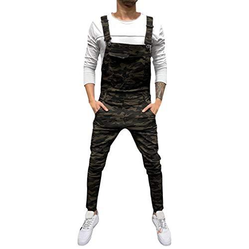manadlian Salopette en Jean Homme Combinaison Pantalon Déchiré Denim Skinny Pantalon de Survêtement Mode Streetwear Pants Jean Droit Homme Travail Combinaisons