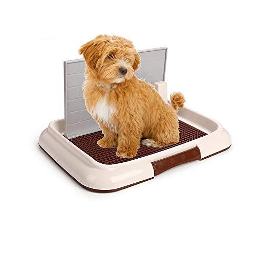 Wotendy Interior para Mascotas Cachorro de Inodoro Bandeja de Entrenamiento con Pared Doggy Training Potty Patch Pad de Entrenamiento Portátil Pet Park Corner Toilet para Perros Limpieza fácil