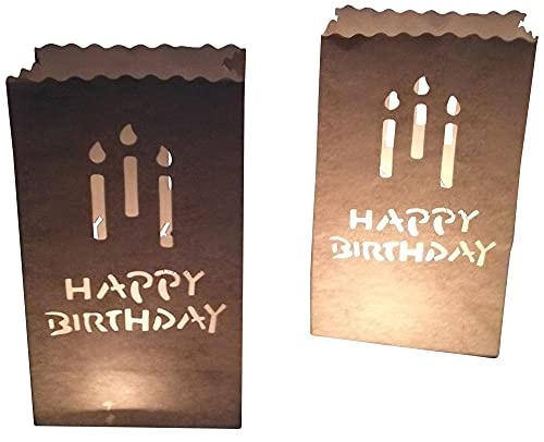 10 sacchetti di carta per candele di compleanno, Happy Birthday, candele per candele, lanterne bianche, portacandele
