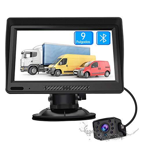 AWESAFE Navegador GPS para Camiones y Coches con Bluetooth y Cámara Trasera de 9 Pulgadas Pantalla LCD Multimedia, con Actualizaciones de Mapas de Europa para Toda la Vida