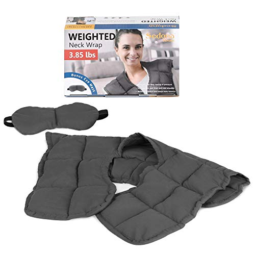 SEDONA HOUSE Weighted Neck and Shoulder Wrap Stress Relief Gifts for Women and Men, Relaxing Gifts for Women and Men Muscle Pain Shoulders and Neck Muscle Relaxer Pad(Color Grey , 3.85 lbs)