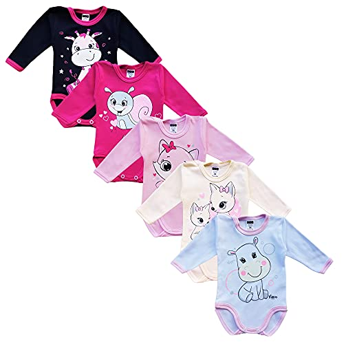 MEA BABY Body unisex de manga larga para bebé, 100 % algodón, en paquete de 5 unidades, con estampado, para niñas, bebés y niños, niña 3, 24 meses