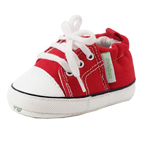 Allence Kinderschuhe Baby Canvas-Turnschuhe, Trendiger Stoff-Sneaker mit rutschhemmenden Noppen, mit kontrastfarbenen Schnürsenkeln