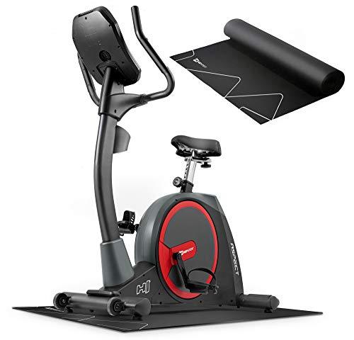 Hop-Sport Heimtrainer Fahrrad HS-300H Aspect inkl. Unterlegmatte und Brustgurt - Ergometer mit Schwungmasse 20 kg - Fitnessbike max. Nutzergewicht 160 kg
