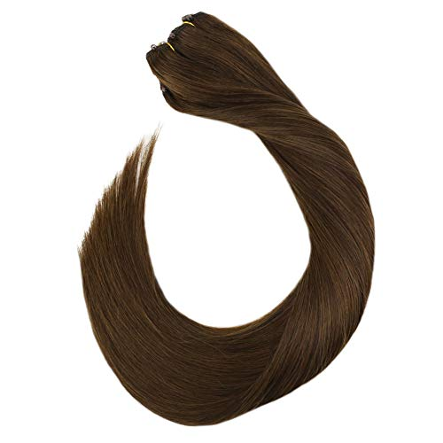 Ugeat 14inch EZE Weft Brazilian Human Hair Extensions Color #4 Dark Brown 50Gram 12inch Width Silky Straight Micro Beads...