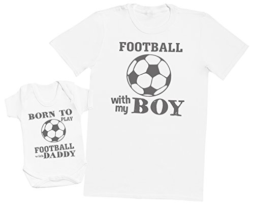 Zarlivia Clothing Born to Play Football with Daddy - Ensemble Père Bébé Cadeau - Hommes T-Shirt & Body bébé - Blanc - XX-Large & 6-12 Mois