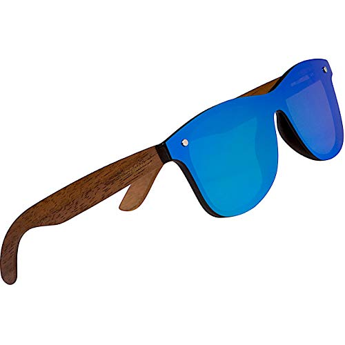 WOODIES Polarized Walnut Wood Flat Mirror Sunglasses for Men and Women | Blue Polarized Lenses and Real Wooden Frame | 100% UVA/UVB Ray Protection