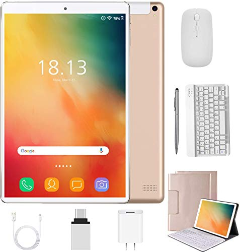 2 in 1 Tablet 10 inch Android 9.0 with Keyboard Mouse, 4GB RAM+64GB ROM/128GB Upgrade Tablets, Dual SIM 4G, Quad Core, 13MP Dual Camera, 8000mAh, WiFi, GPS, Bluetooth, Google Certified Tablet(Glod