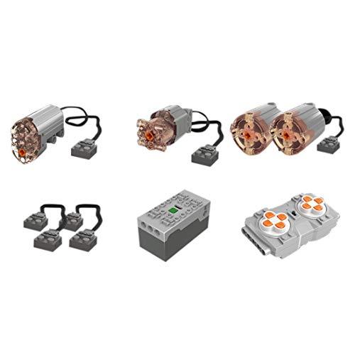 SICI Technik Ersatzteile Set mit Motors, Akku Box, Fernbedienung, Verlängerungskabel, 8 Teile Power Functions Set Kompatibel mit Lego Technik