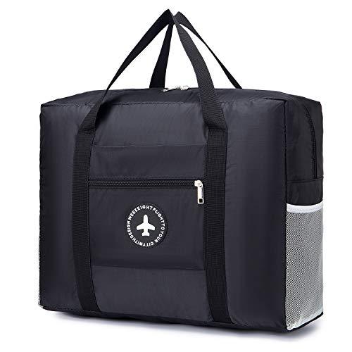 BAGZY Large Bag Holdall Travel Duffle Bag Weekend Bag Fold Away Shoulder Suitcase Flight Shopping Overnight Bag Handbag Luggage Storage Lightweight Gym Sports Bag Carry on Luggage Unisex 30L Black