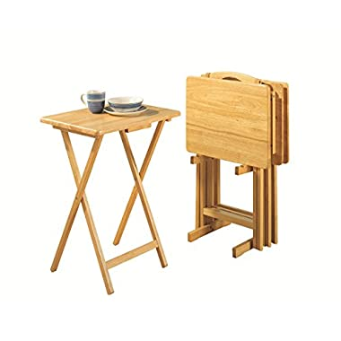 PJ Wood 5-piece Set TV Tray Table in Natural Finish