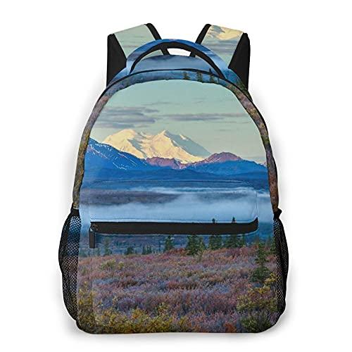 LUDOAN Mochila para portátil de viaje,mañana brumosa en el Parque Nacional Denali,Alaska,mochila antirrobo resistente al agua para empresas,delgada y duradera