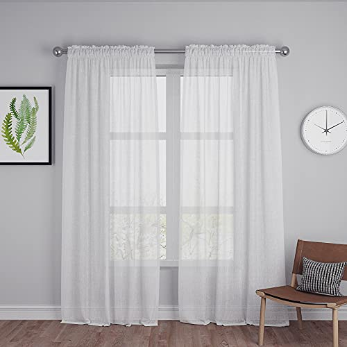 """White Sheer Curtains 92 inches Long Living Room Sheers Curtain Panels Kitchen Bedroom Drapes Rod Pocket 2 Panels 92"""""""