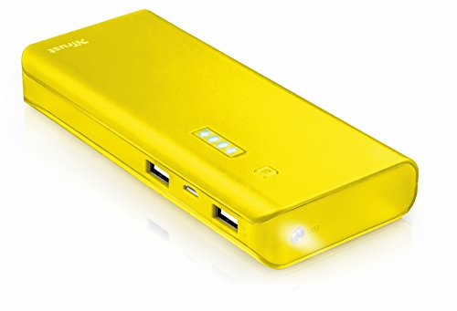 Trust Mobile Primo Powerbank, 10.000 mAh met 2 USB Poorten (voor Tablet & Smartphone), Geel