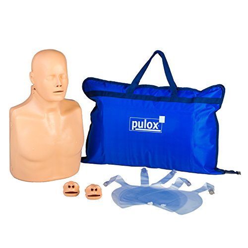 Pulox Reanimationspuppe Erste Hilfe Trainingspuppe Übungspuppe Practi-Man Advance Esmarch Handgriff Funktion Reanimationspuppe mit Gesichtsmaske, 5 Luftbeuteln und Tragetasche
