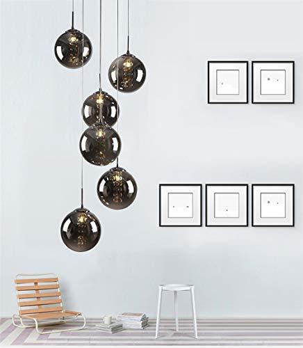 LED Kristall Pendelleuchten Glas Kugel Hängeleuchten Esszimmer Lampe Höhenverstellbar Kronleuchter für Wohnzimmer Esstisch Schlafzimmer Halle Treppenhaus Cafe Bar Innenbeleuchtung,Rauchgrau 6-Flammig