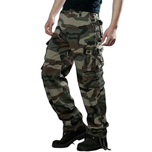Herrenhose Casual Washed Loose Overalls Outdoor-Sportarten Solid Color Multi-Bag Military Outdoor-Hose für Camping Wandern Wandern