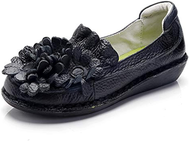Vintage Women Leather Flats Casual Floral Flat Soft shoes (color   Black, Size   CA 8)