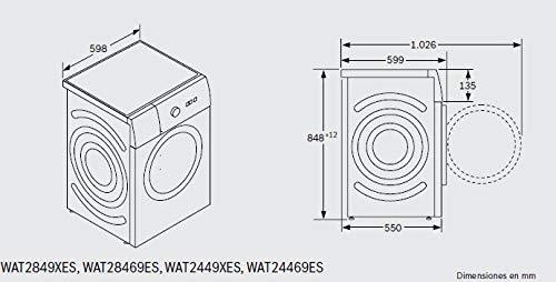 Bosch Serie 6 WAT2849XES Independiente Carga frontal 8kg 1400RPM A+++ Acero inoxidable – Lavadora (Independiente, Carga…