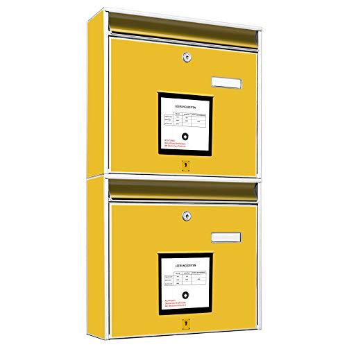Burg Wächter Briefkastenanlage doppelt | 2 Briefkästen 36cm x 64cm x 10cm groß | Stahl weiß verzinkt mit Namensschild | Doppelbriefkasten 2 Schlüssel | Motiv Briefkasten Gelb