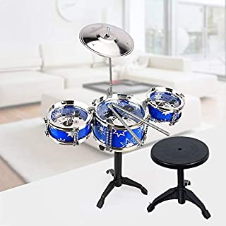 Kids/Junior Drum Set with Adjustable Throne, Cymbal & Drumsticks, Metallic Blue Christmas Toy Gift