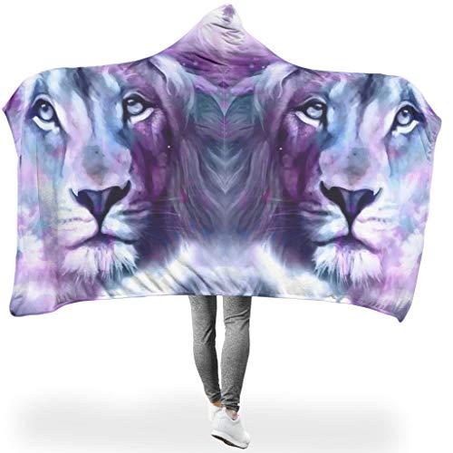 RNGIAN Tagesdecke Tiger Löwe Tier Antiverfärben Wendedecke Warm Waschbar Decke, Polyester, weiß, 150x200cm