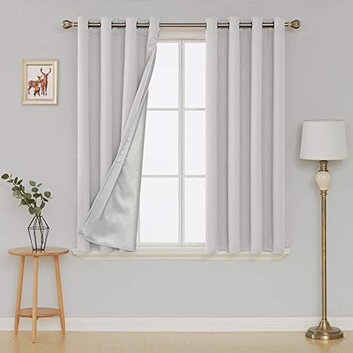 Deconovo Thermal Insulated Blackout Curtains Noise Reducing Home Office Panel Drapes with Silver Coating for French Doors 52 x 63 Inch Greyish White 2 Panels