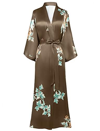 BABEYOND Damen Morgenmantel Maxi Lang Seide Satin Sommer Kimono Kleid Klassisch Blumen Muster Kimono Bademantel Damen Lange Robe Blumen...