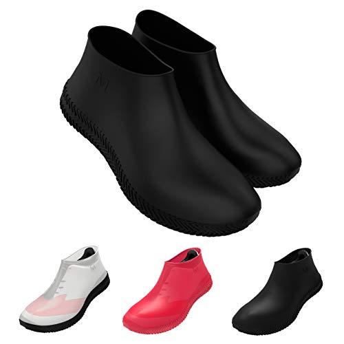DIVEBLAST: Waterproof Silicone Shoe Covers - Non-Slip Rubber Overshoes for Heavy Rain - Reusable Sneaker & Boots Protector for Men, Women and Kids (Black, Large)