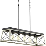 Briarwood Collection Whitewashed Five-Light Farmhouse Linear Chandelier