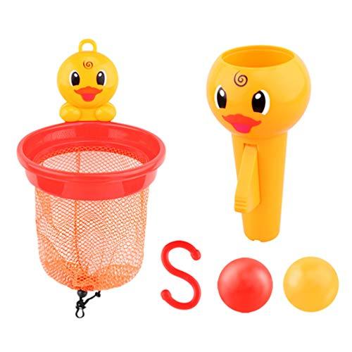 TomaiBaby Juguetes de Baño para Bebés Juego de Aro de Baloncesto Aro de Bañera de Pato de Dibujos Animados Juegos de Tiro Herramientas de Entrenamiento Juguetes para Niños Pequeños