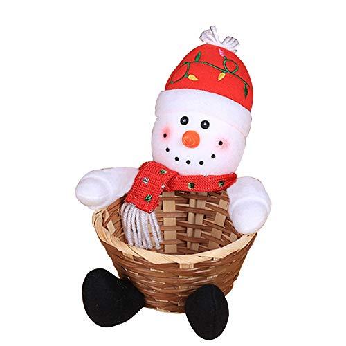 LYMHGHJ Canasta de Dulces navideños, Almacenamiento de Dulces navideños Adorno de decoración navideña Adorno de Mesa Papá Noel/Muñeco de Nieve/Elk Canasta de Regalo Canasta de Mimbre Regalo de c