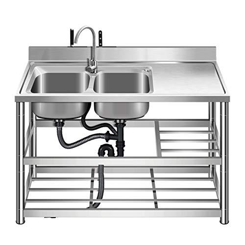 Fregadero comercial de acero inoxidable, fregadero de cocina para el hogar con soporte, diseño de soporte de hoja doble para placa de retención de agua, adecuado para cocina, patio trasero, garaje,