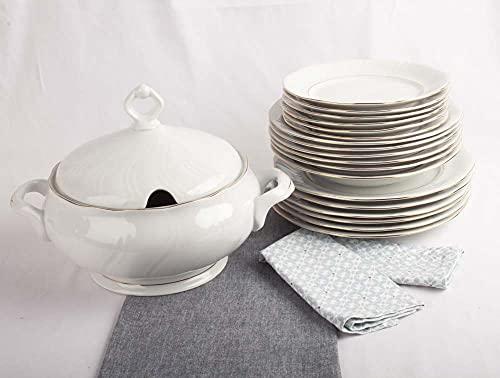 Franquihogar - Vajilla completa blanca con filo de oro para 6 personas - Set de 19 piezas   platos llanos + platos hondos + platos postre + Sopera   Lubeck