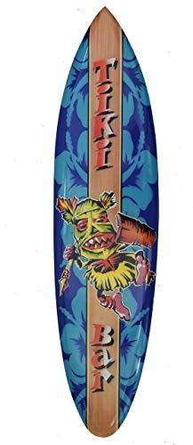 Interlifestyle Tabla de surf de 100 cm, estilo Tiki Bar Tiki Bailarinas de fuego, tabla de surf de madera dura en estilo Paintbrush