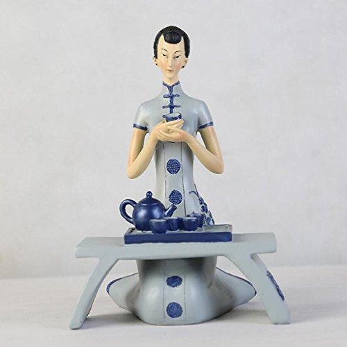 Ouvrages d'art Moderne Minimaliste Chinois Style Résine Sculpture Dames Artisanat Ornements Rétro Salon TV Cabinet Bureau Décorations Cadeau Rollsnownow (Taille : 15 * 21.5cm)