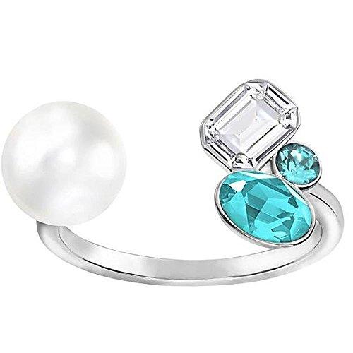 Swarovski Damen-Ring Extra Medium Open türkis Kristall Perle Gr. 58 (18.5) - 5221599