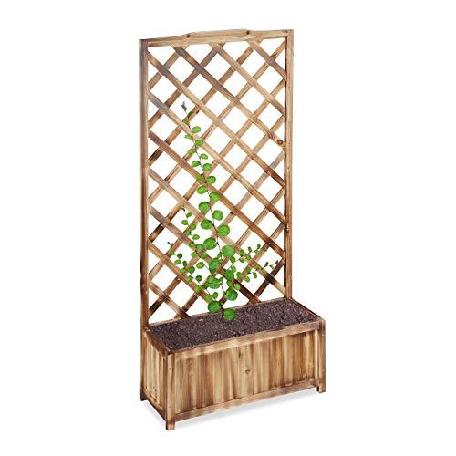 Relaxdays Rankkasten mit Rankgitter, wetterfest, Holz, f. Balkon, Garten, Rosen, 35 L Kübel, 150 cm Rankhilfe, gebrannt