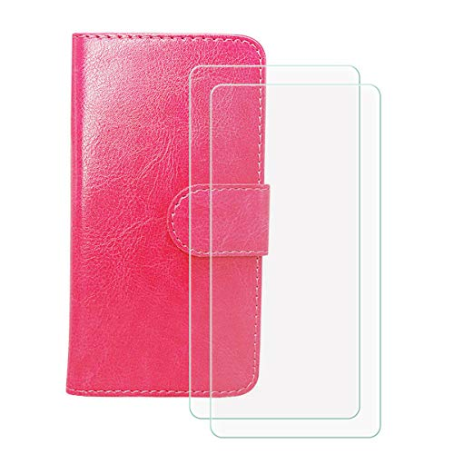 LMLQSZ Cover for Tecno Camon 17 Pro + 2 HD Film Protector, Screen Protector Tempered Glass - Phone case with [Cash and Card Slots] Wallet Shell for Tecno Camon 17 Pro - Rose