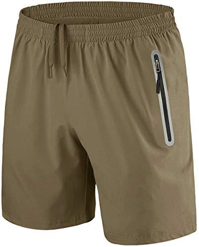 KEFITEVD Jogging Shorts Men Cotton Outdoor Shorts Elastic Waist Gym Workout Shorts Training Shorts with Zip Pockets Khaki