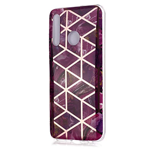 Fatcatparadise für Huawei Honor 10 Lite Hülle + Displayschutz, Galvanisiert Marmor Weich Silikon Handyhülle Schlank Flexible TPU Bumper Handytasche Gummi Dünn Abdeckung Schutzhülle (Lila)