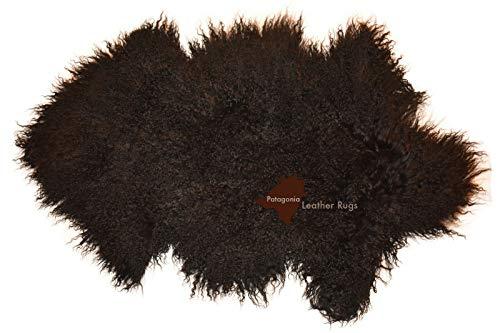 Patagonia Leather Rugs Teppich Echtes Tibetisches Schaffell Haarlänge Locken Black