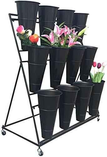 Estante de Flores Estante de Flores Estante de Flores de Hierro Forjado con Maceta Estante de Floristería Estante de Exhibición de Cubo de Flores, O&YQ