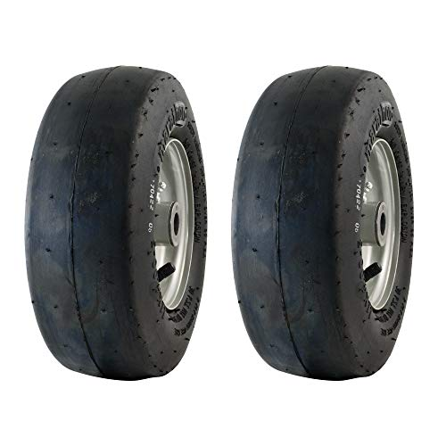 MARASTAR 20402-2pk 11x4.00-5 Smooth Universal Mower Tire Assembly 20402, Black