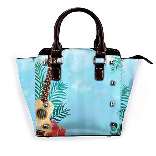 BROWCIN Ukelele hawaiano Guitarra Tropical Palm Leaves Hibiscus Aloha Stall Summer Music Desmontable Moda Tendencia Bolso de las señoras Bolso de hombro